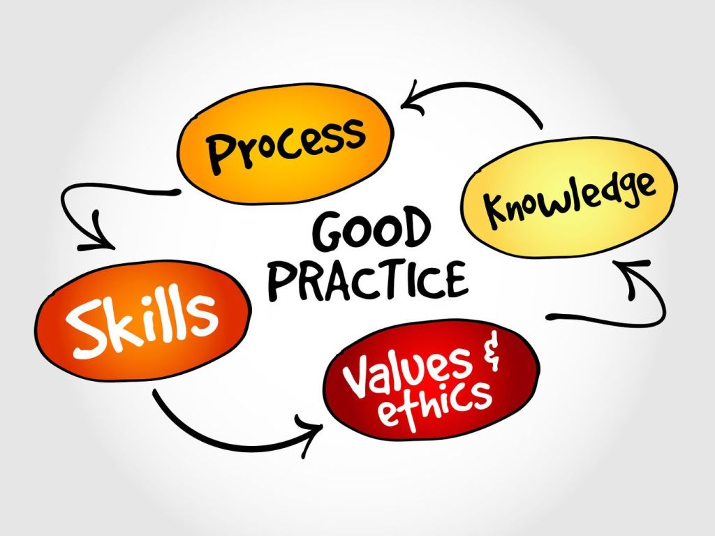 good practice, skills, process, knowledge, values and ethics